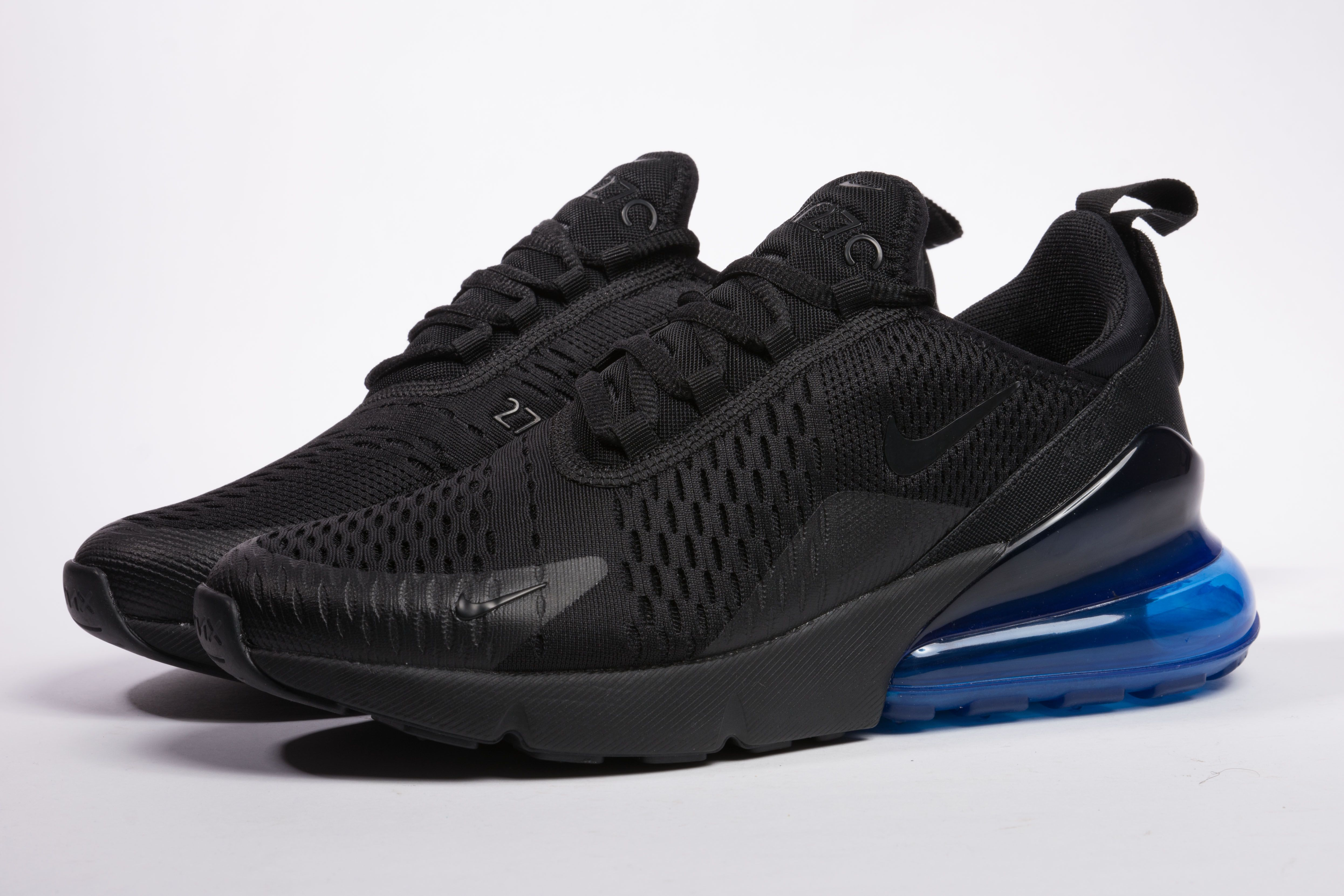 quality design 70498 f8b62 Nike Air Max 270 AH8050-009 Black Blue Sneaker for Sale-14 Matching Black  tonal branding and rubber outsole completes the design.