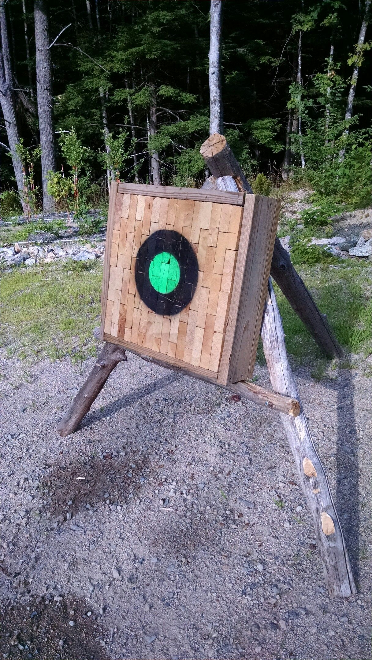 tomahawk target made from scrap 2x6 material. once they get