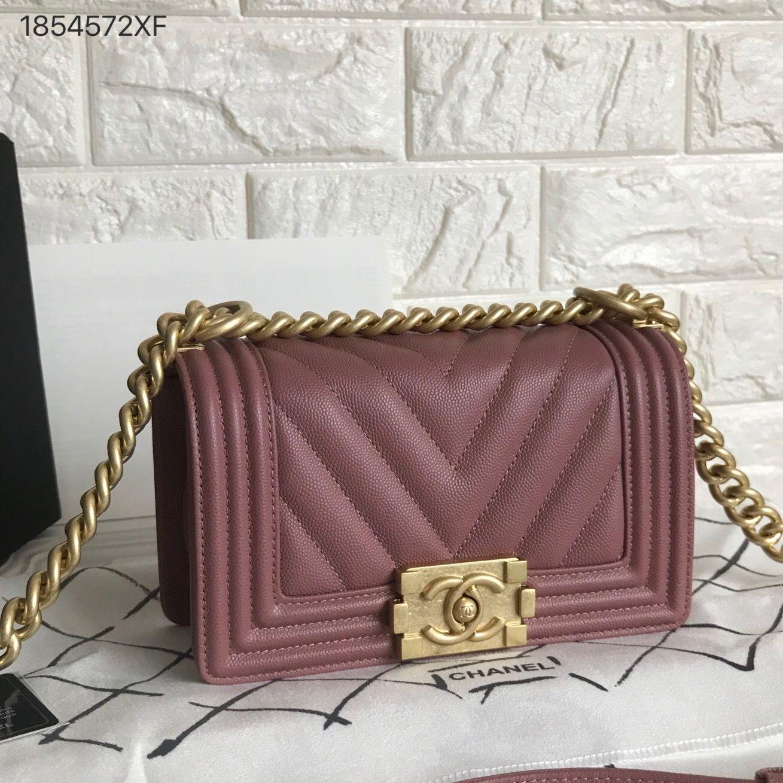40d9f5dfcc3806 Chanel woman leboy chain flap bag small size 20cm V chevron pattern salmon  pink color