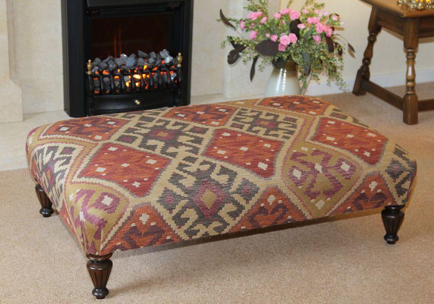 Large Table Stool Upholstered In Linwood Kuba Kilim Fabric