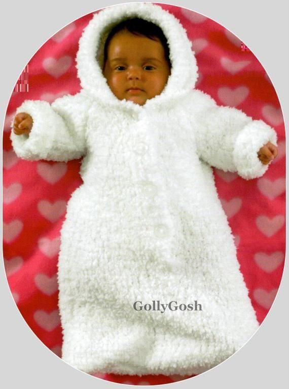 PDF Knitting Pattern – Baby's Chunky Knit Sleeping bag/Sack or Cocoon & Dressing…