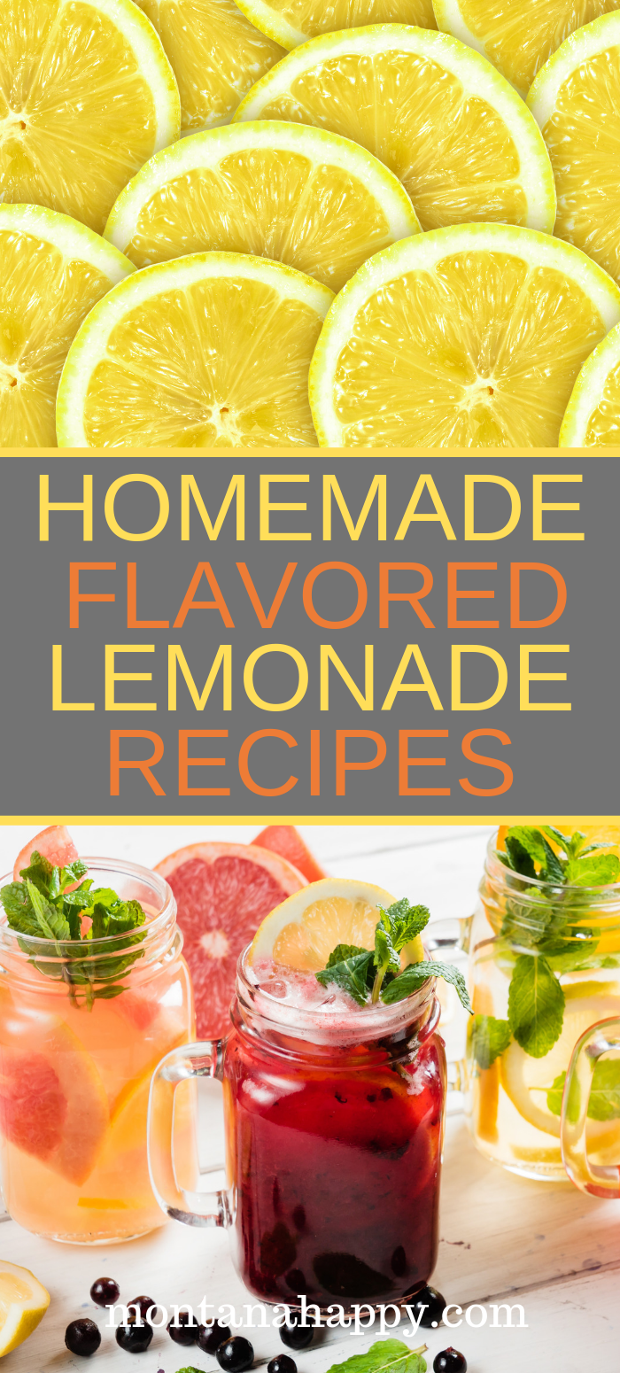 Homemade Flavored Lemonade Recipes  #flavoredlemonade