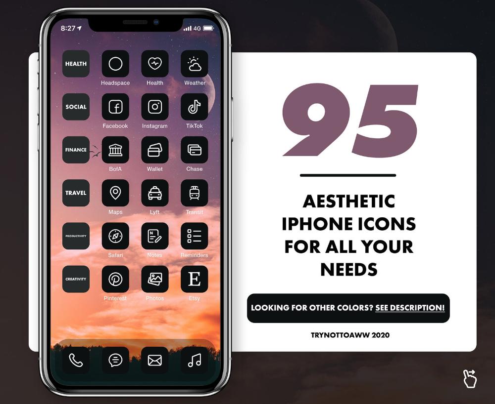 Black Aesthetic Iphone Ios14 Modern App Icons Social Media Etsy App Icon Black Aesthetic Iphone Icon