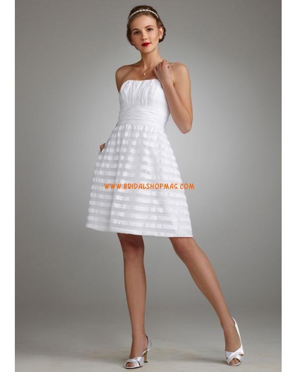 Short Strapless Organza Striped Dress
