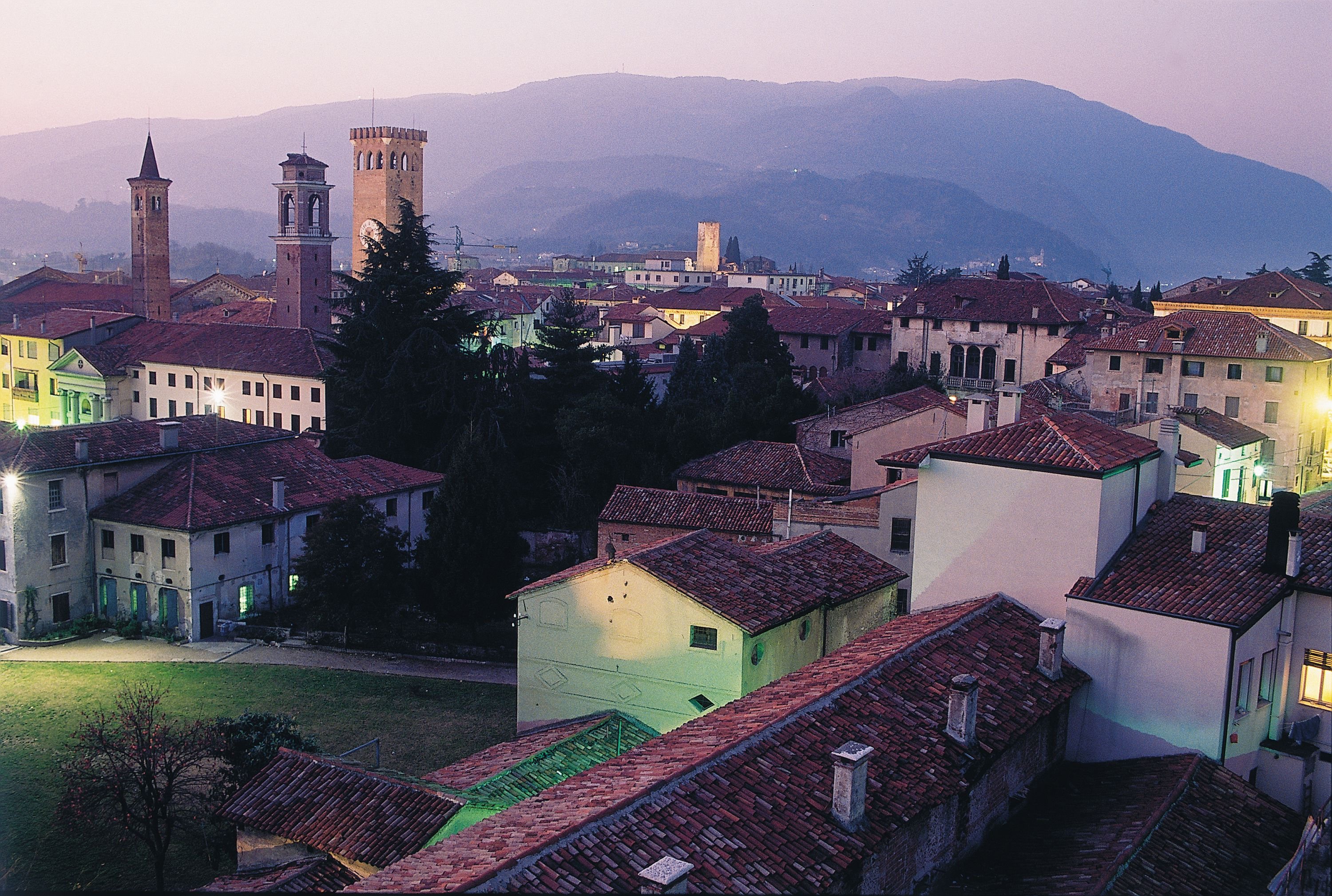 Sunset over the rooftops of Bassano del Grappa, Italy