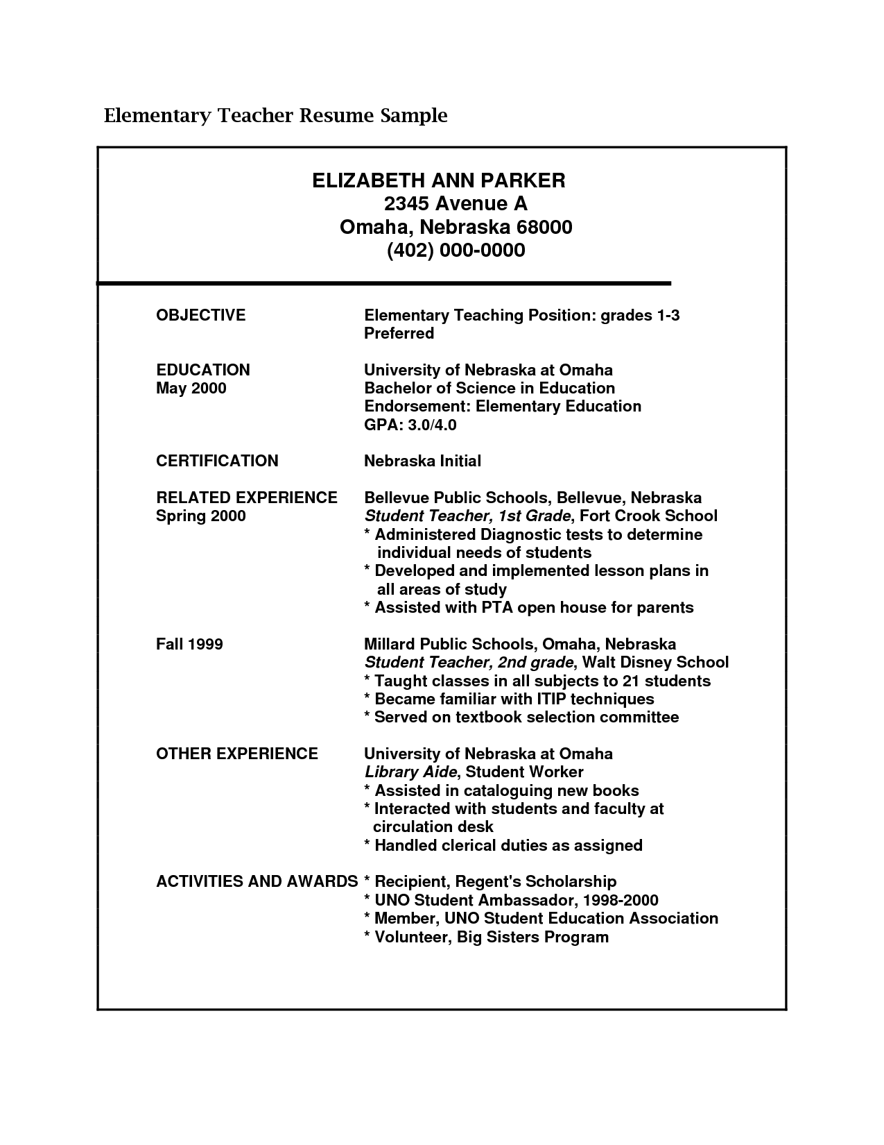 resume Elementary Teacher Resume admin teacher resume exampleselementary examples exampleshigh school resume