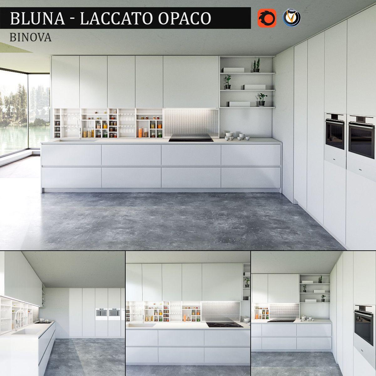 Kitchen Bluna Laccato Opaco 3d Max 3d Model Modern Kitchen Interiors Buy Kitchen Kitchen Interior