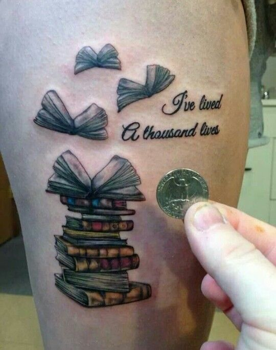Bookworm tattoo design
