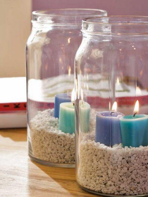 großartige kerzen ideen sommer deko gläser | einmachglas deko,