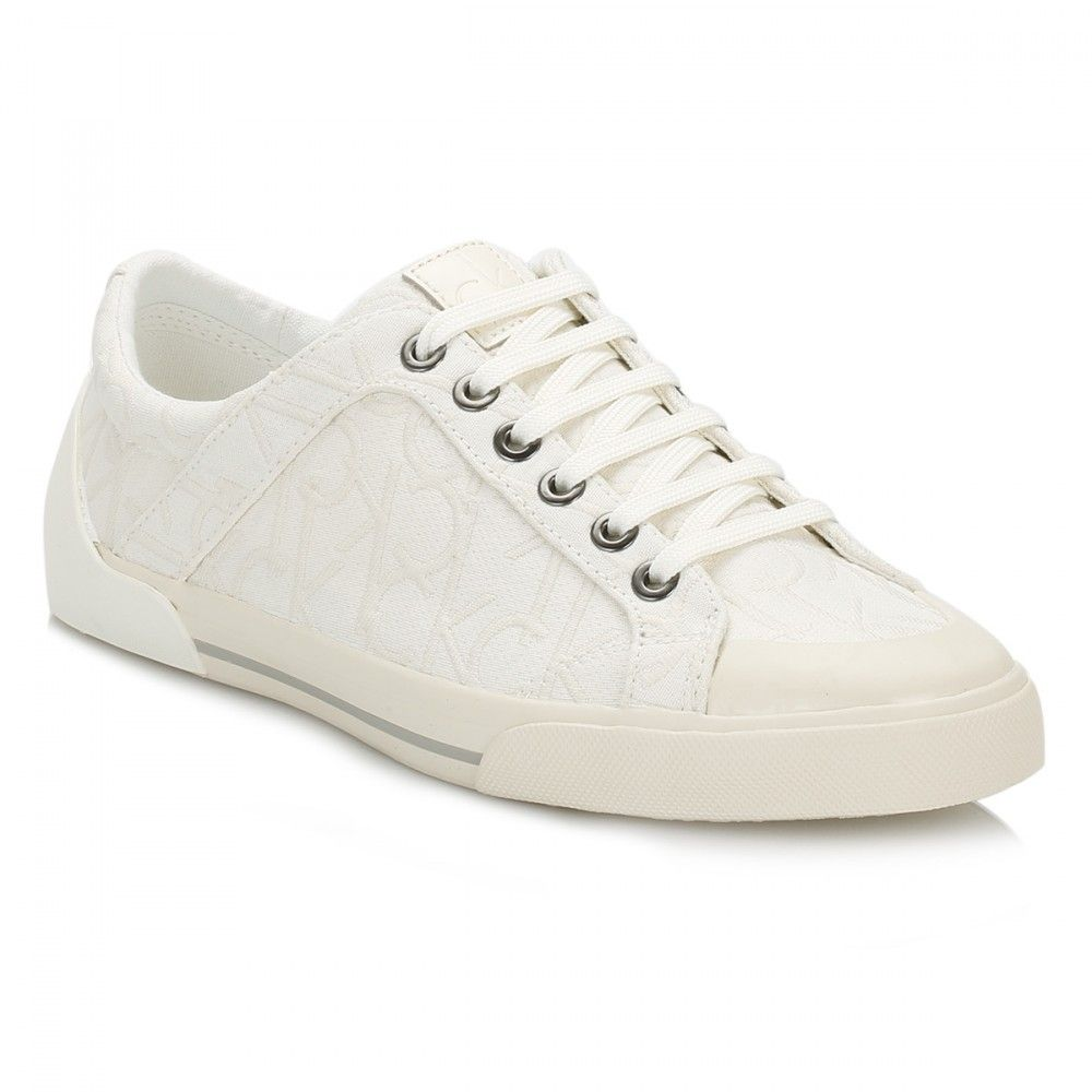 128caf17d87a Calvin Klein Jeans Womens White Giselle Jacquard Trainers