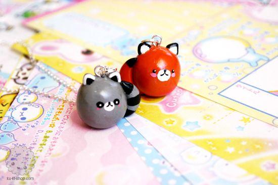 little fox & raccoon charms
