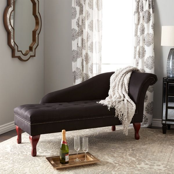 Simple Living Black Storage Chaise Lounge   11608105   Overstock   Great  Deals On Simple Living Living Room Chairs   Mobile