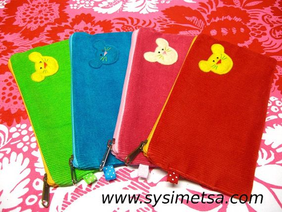 www.etsy.com/shop/SysimetsaDesign Colorful Corduroy Felt Mouse Pencil Case Zipper Pouch With Key Ring