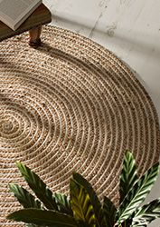 Large Round Natural Braided Rug Jute Cotton