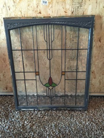Beautiful Art Deco Style Stained Glass Window In Original Frame