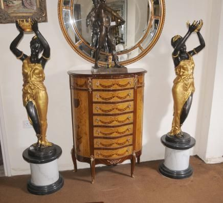 Pair XL French Bronze Female Figurines Statues Blackamoors Architectural Signed Milo
