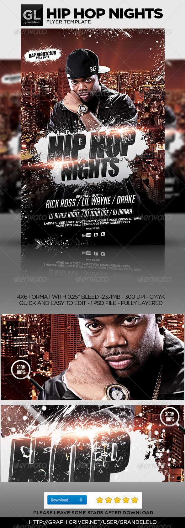 Hip Hop Flyer Template  Flyer Template Party Flyer And Event Flyers