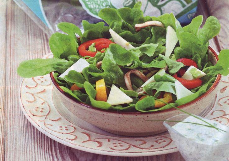 рецепт салата с кальмаром и сыром