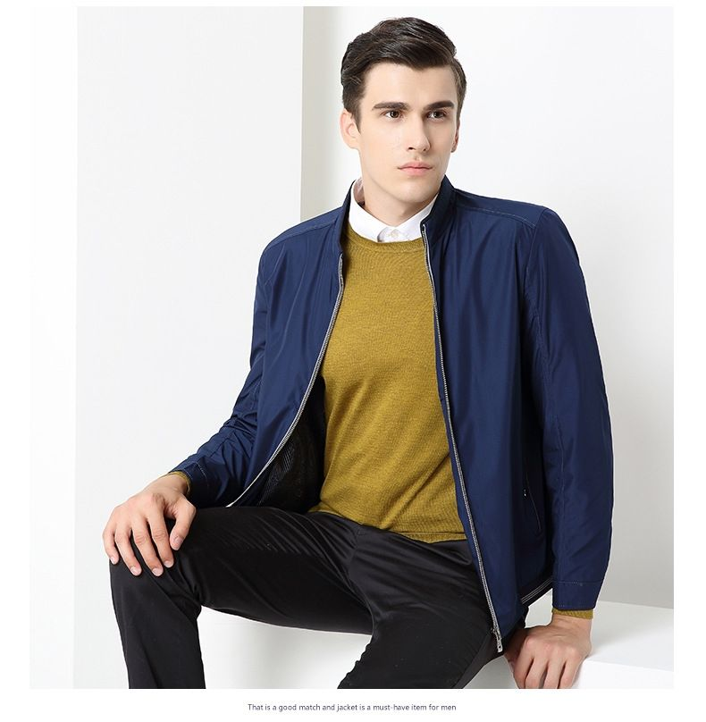 0affef9ed0 Middle-aged and old jacket solid color zipper leisure business men  s wear  coat