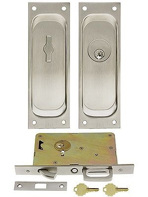 Keyed Pocket Door Mortise Lock Set With Rectangular Pulls In 2020 Mortise Lock Pocket Doors Lock Set