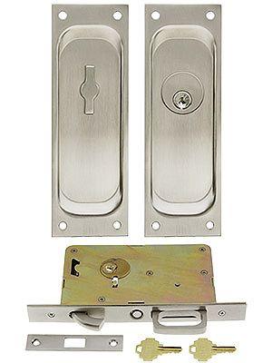 Keyed Pocket Door Mortise Lock Set With Rectangular Pulls In 2020 Mortise Lock Lock Set Pocket Doors