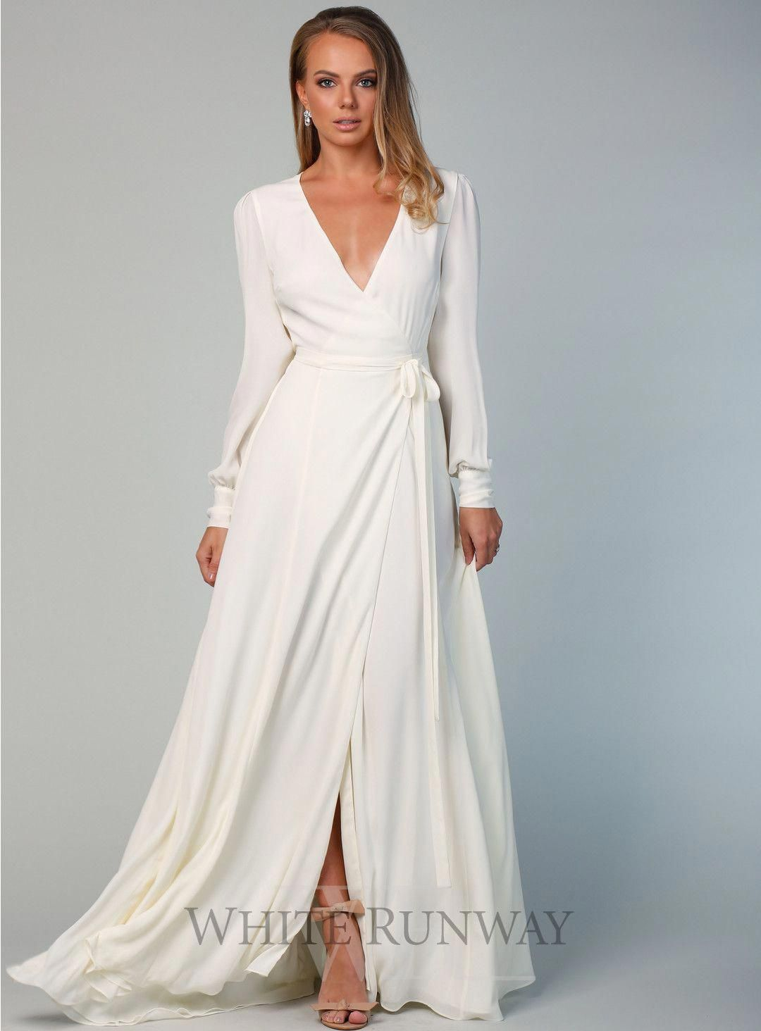 Bishop Sleeve Gown with Train  Gowns with sleeves, Wrap wedding