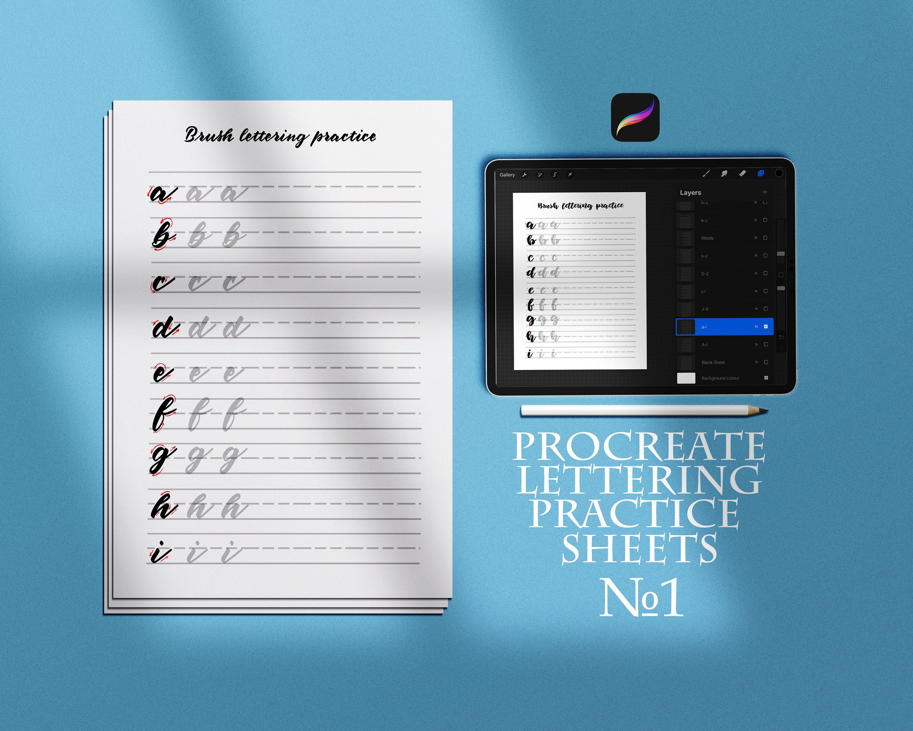 Procreate Lettering Pactice Worksheets Handlettering
