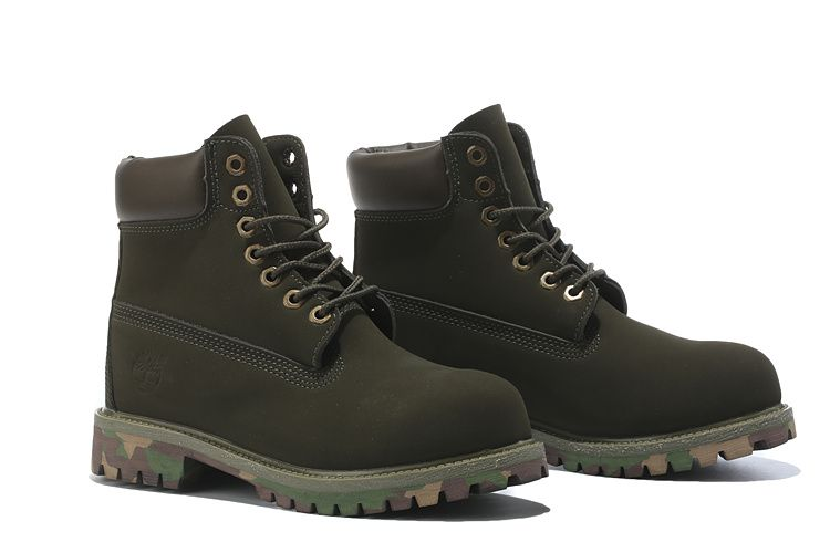 Timberland Authentic 6 inch Premium Waterproof 10061 Boot-Olive Camouflage  For Kids