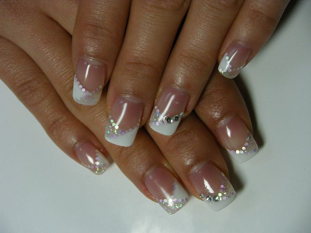 Gel Nail With Design French Gel Nails French Diamond Nail Designs Simple Gel Nail Designs
