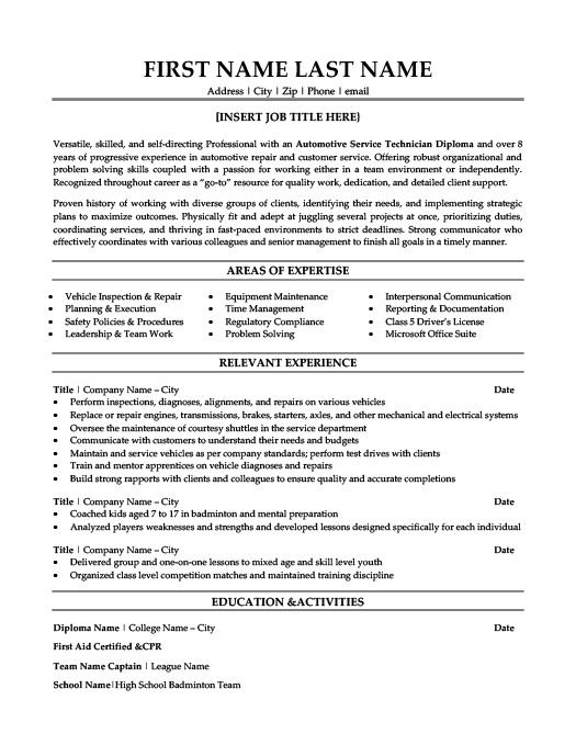 Technician Resume Automotive Service Technician Resume Template  Premium Resume