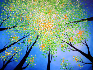 """""""Spring is in the Air"""" There's no need to bring your allergy meds to this full on springtime eruption. A look up into the trees shows an explosion of bright leaves contrasting against the crisp spring sky. It's an eye-popping image with full color and fun. www.PinotsPalette.com"""