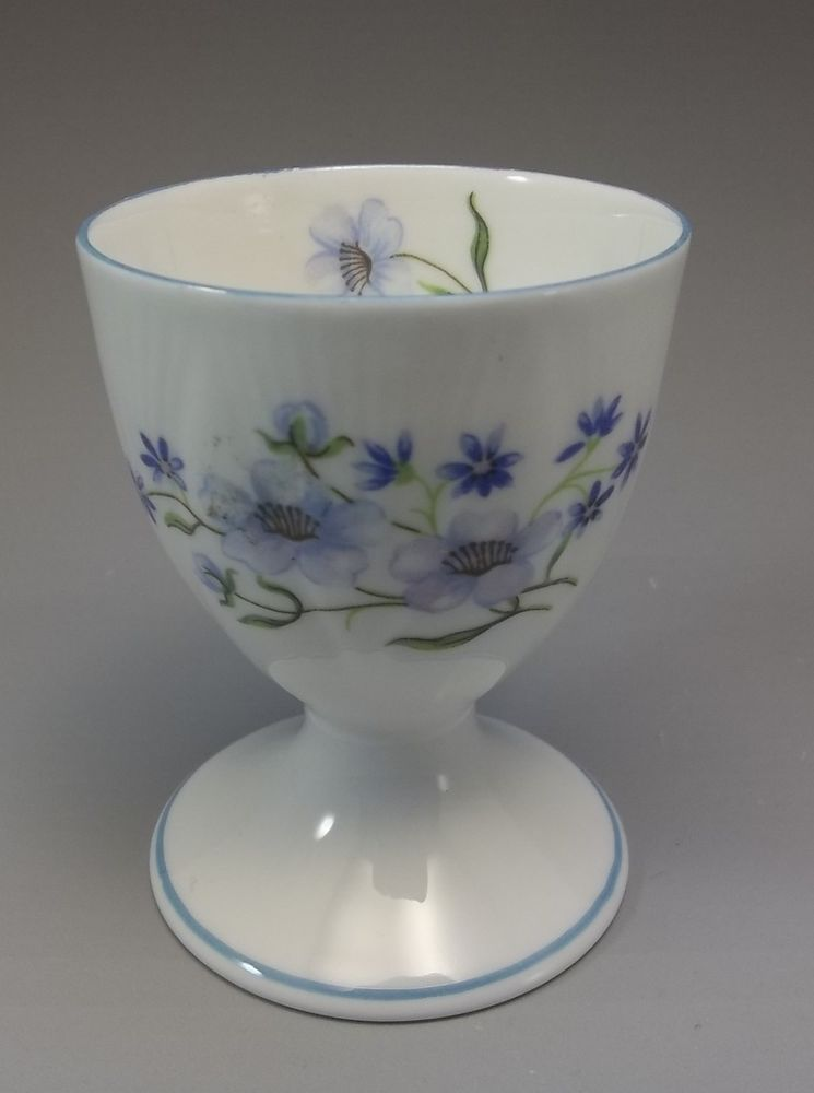 Vintage Shelley Egg Cup Blue Rock Flowers Dainty Bone