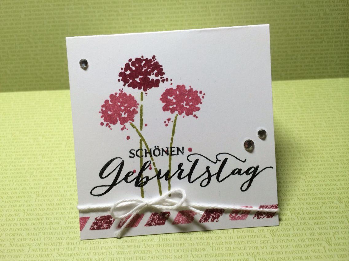 Geburtstagskarte, mit Stampin' Up Materialien gefertigt. Birthday card made with Stampin' Up supplies.