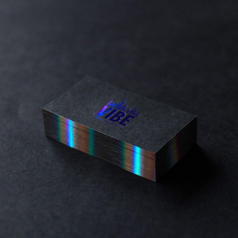 Holographic Foil Edge Business Card Design Black Graphic Design Business Card Elegant Business Cards Design
