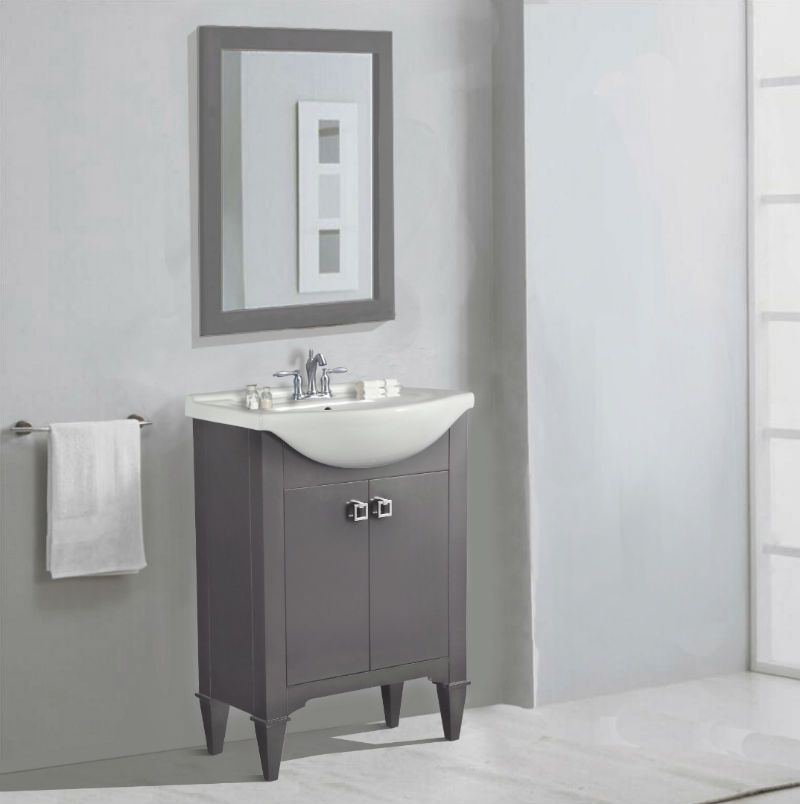 Abel 24 Inch Single Sink Bathroom Vanity Gray Finish Porcelain Top