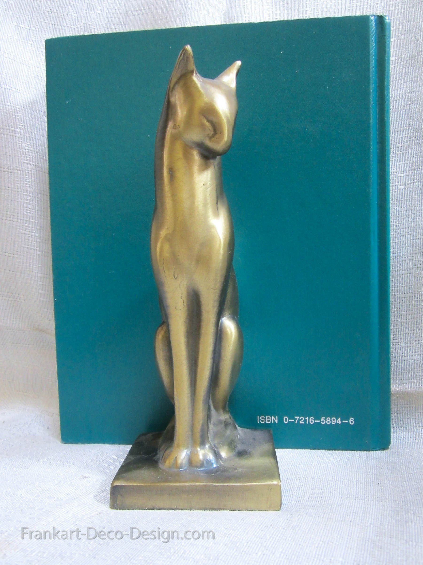 Frankart Sitting Cat brass art deco moderne bookends, 2 singles ...