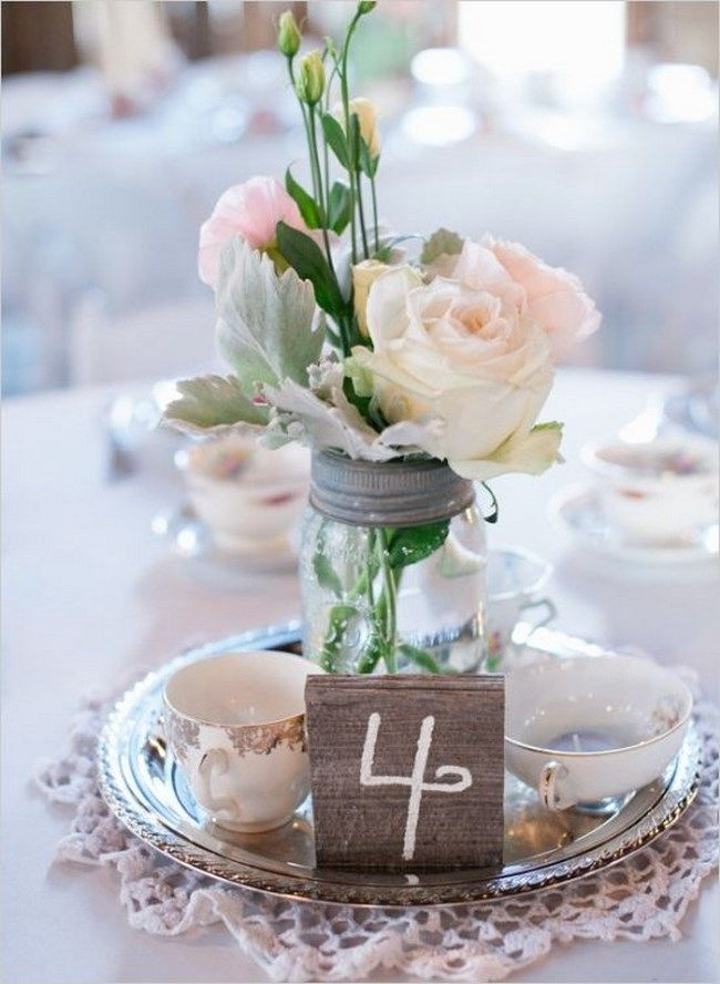 15 centros de mesa vintage para boda - Centros de Mesa Te de - arreglos de mesa