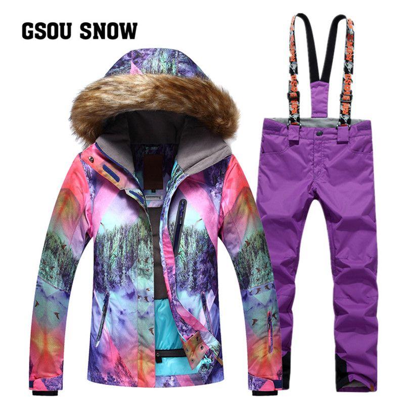 2018 Gsou Snow Women Ski Jackets Pants Sets Ladies Ski Suit Waterproof Windproof Warm Sport Outdoor Snowboa Ski Jacket Women Ski Jacket Outdoor Sports Clothing
