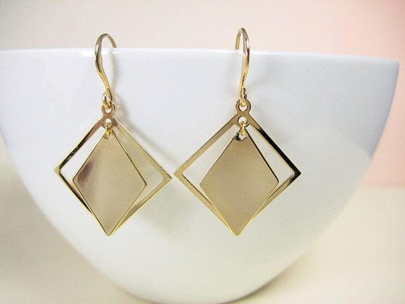 Square Gold Earrings Free Shipping Unusual Gold by KarenJaneGems