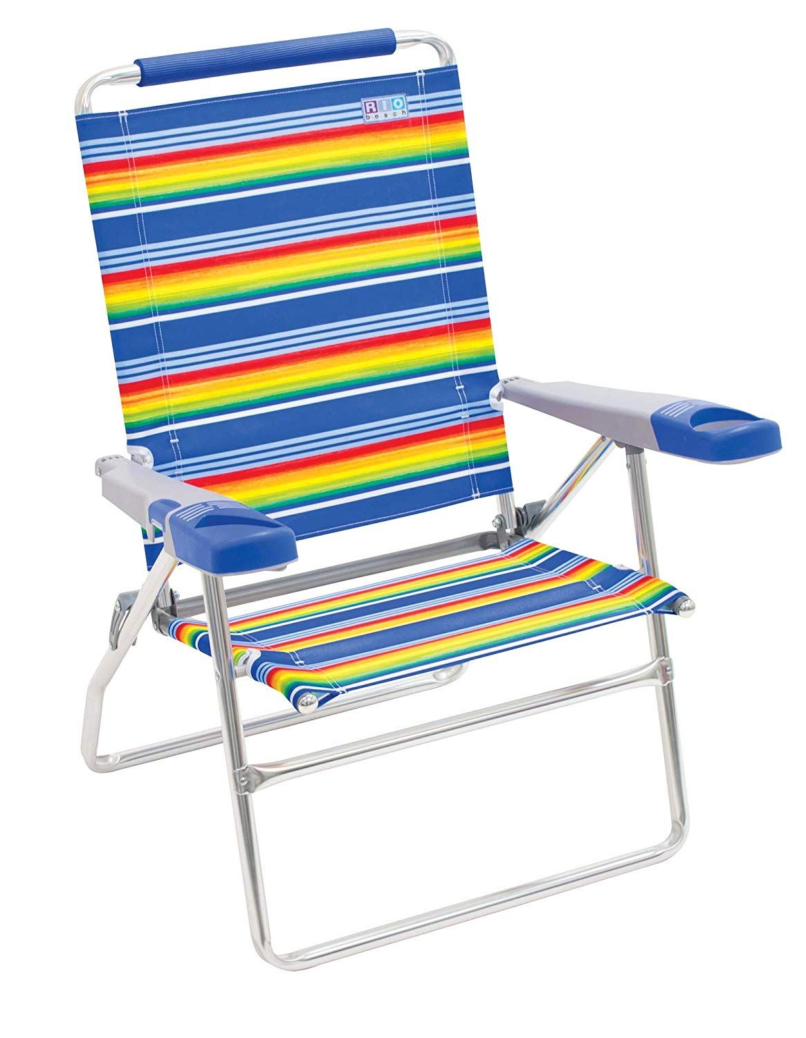 "Rio Beach 4Position 15"" Tall Folding Beach Chair Stripe"