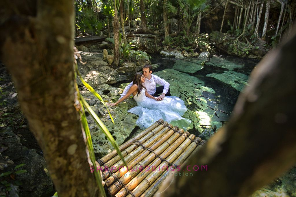 Trash the Dress in a hole skin in Mayan Riviera Mexico