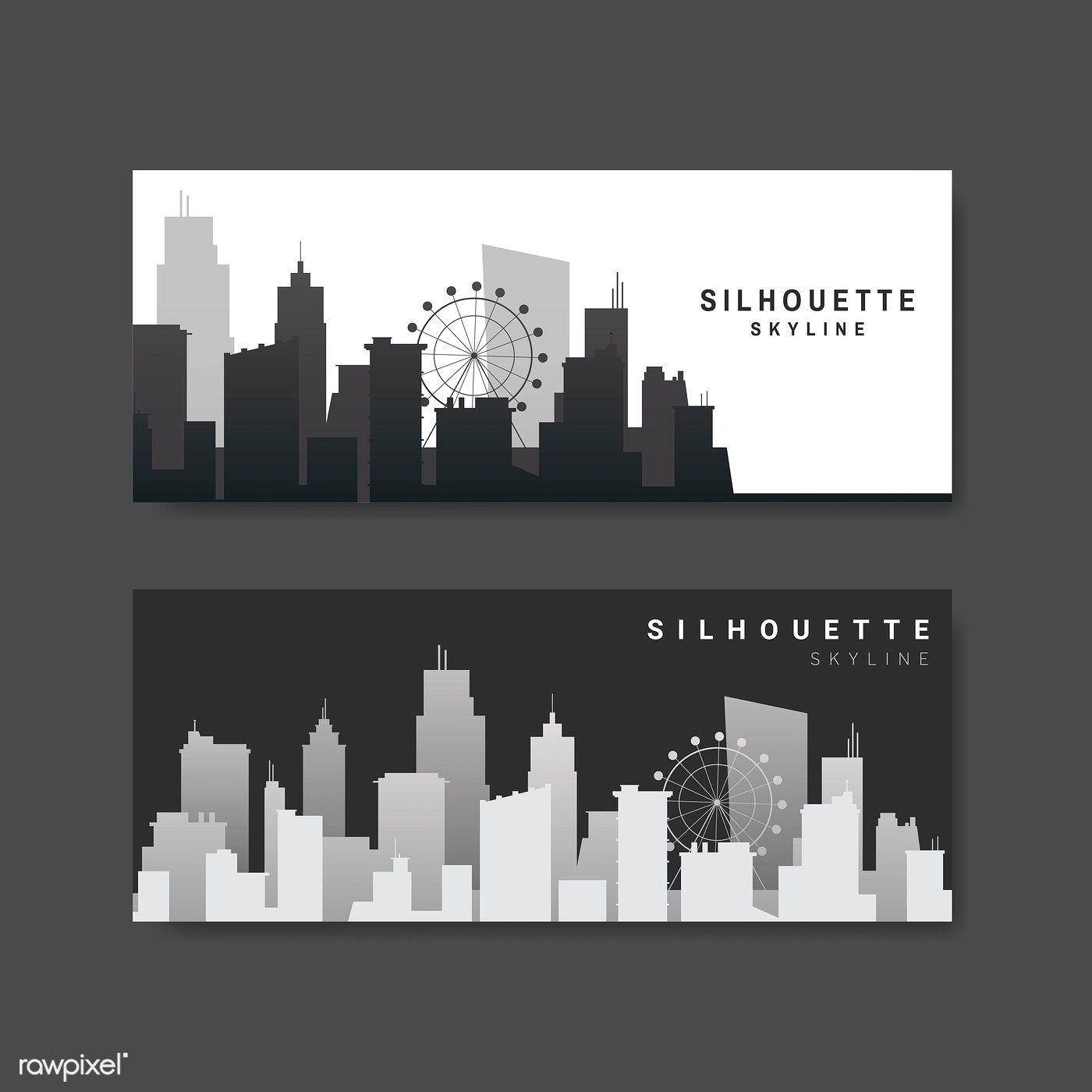 Silhouette City Skyline Banner Vector Free Image By Rawpixel Com Aum