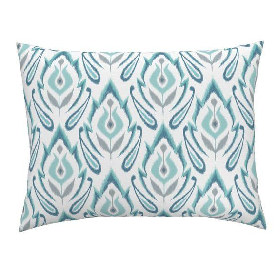 Floral Pillow Sham Cool Blue Ikat By Pattysloniger