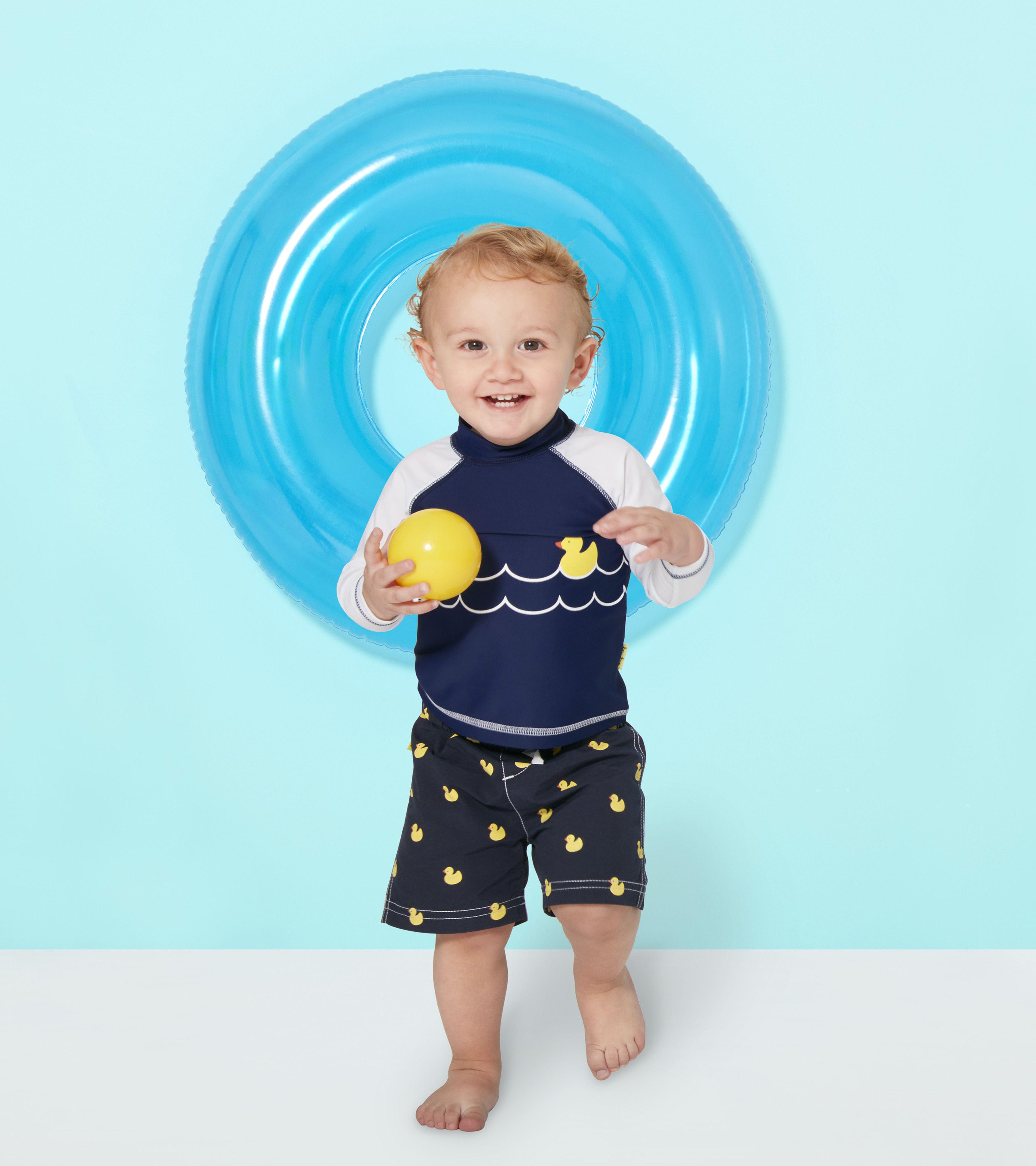 Le Top Lucky Duck SPF Swim Shirt & Woven Swim Trunks w Ducks