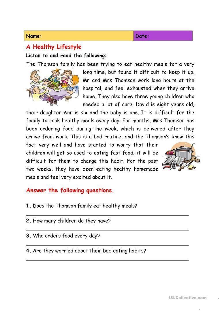 Health Worksheets 4th Grade A Healthy Lifestyle Worksheet Free Esl  Printable   Reading comprehension worksheets [ 1079 x 763 Pixel ]
