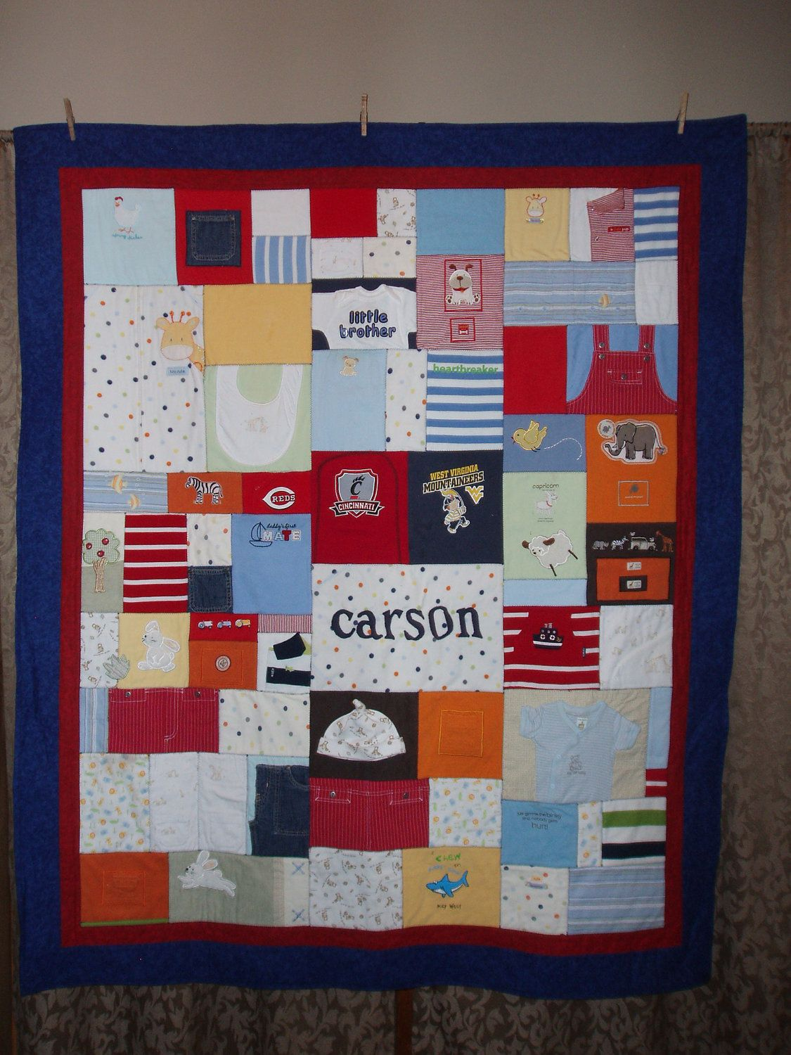 Large throw size Patchwork Style Quilt made from baby clothing ... : quilt made of baby clothes - Adamdwight.com