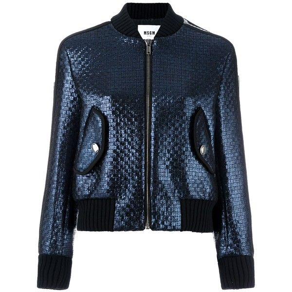 MSGM woven bomber jacket (€430) ❤ liked on Polyvore featuring outerwear, jackets, blue, blouson jacket, msgm, flight jacket, woven jacket and blue jackets