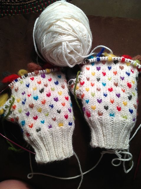 color inspiration: love the rainbow mix on these thrummed mittens ...