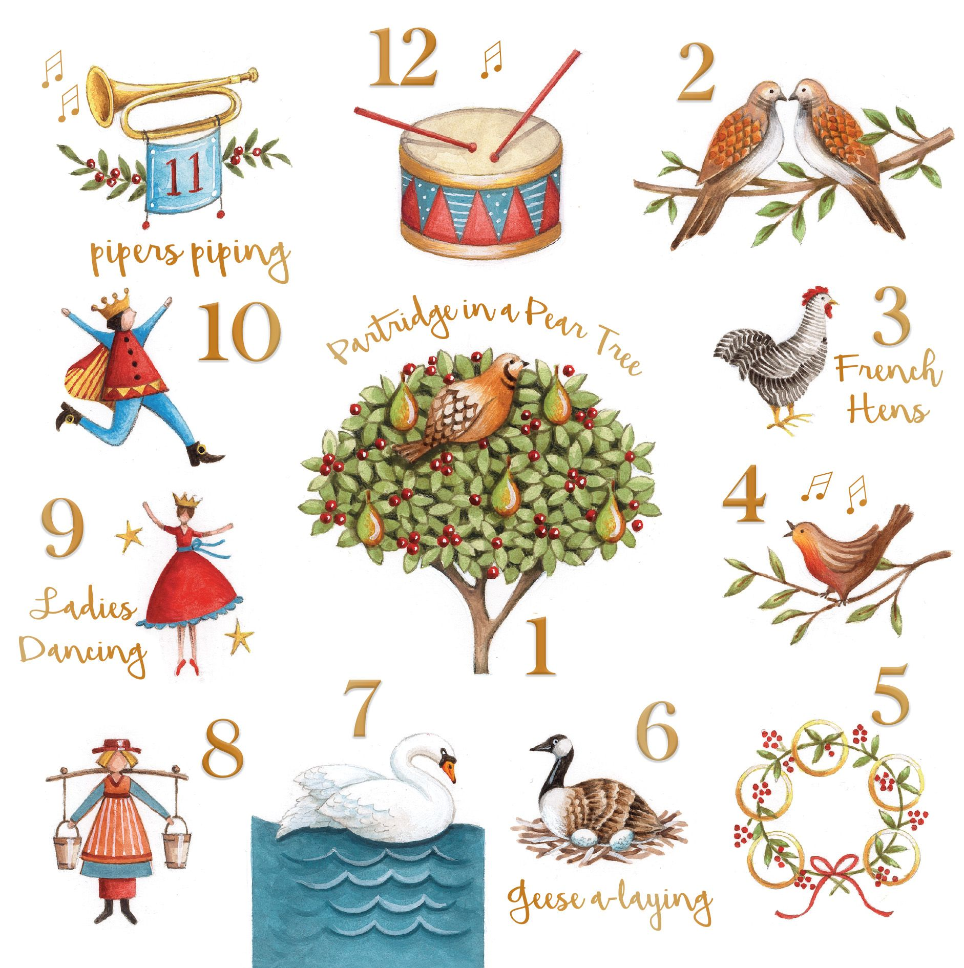 12 Days Charity Christmas Card Contemporary christmas