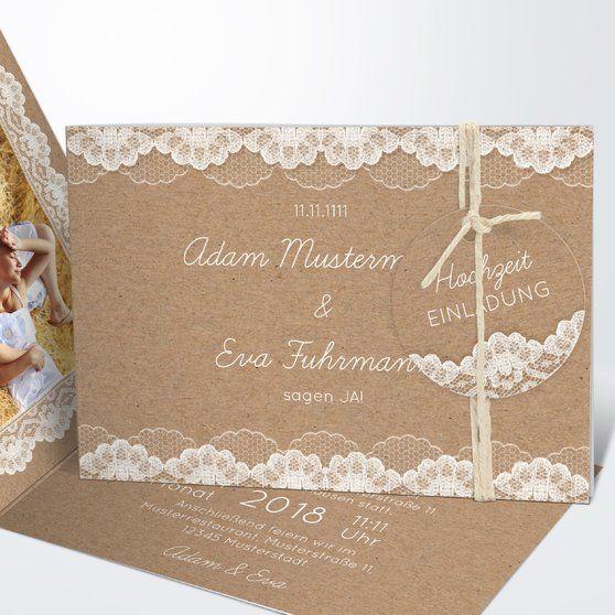 Hochzeitsspitze Horizontale Klappkarte 148x105 Dunkel Bisquite In